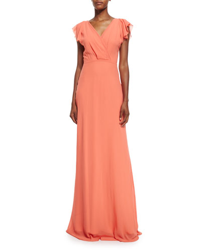 Cap-Sleeve Chiffon V-Neck Gown, Coral