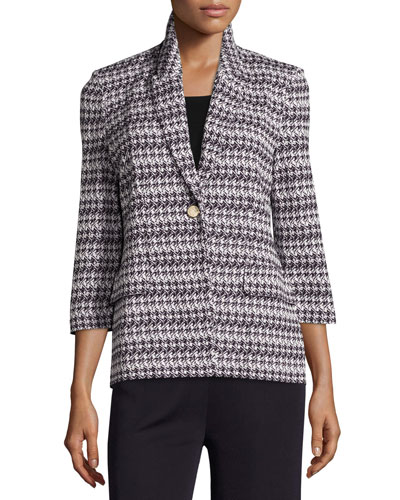 Houndstooth-Print 3/4-Sleeve Jacket, Navy/New Ivory Reviews