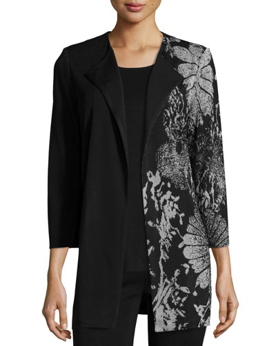 Hint of Floral Long Half-Print Jacket