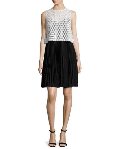 Sleeveless Lace & Chiffon Popover Dress, Ivory/Black