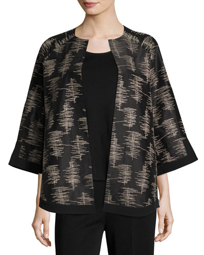 3/4-Sleeve Silk Embroidered Jacket