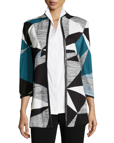 Colorblock Jacket W/ Faux-Leather-Trim, Teal/Black/Ivory