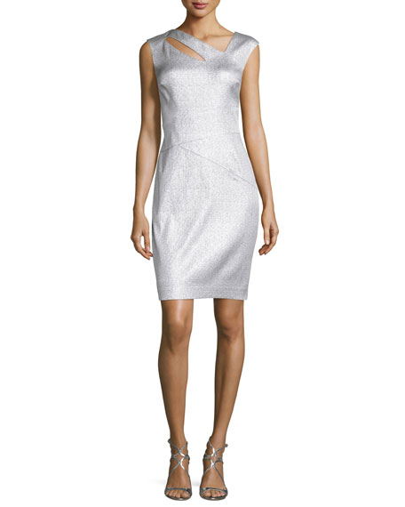 Kay Unger New York Metallic Jacquard Cutout Dress,