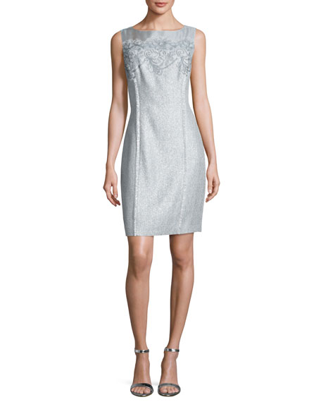 Kay Unger New York Floral Tweed Sheath Dress,