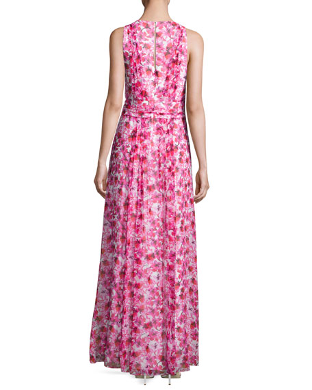 Floral Printed Sleeveless Gown, Pink/Multi