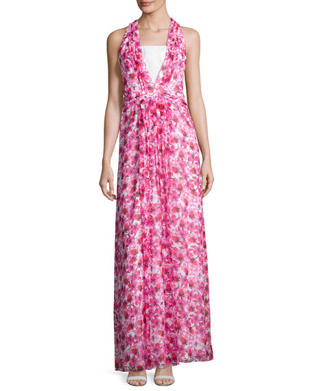 Kay Unger New York Floral Printed Sleeveless Gown,