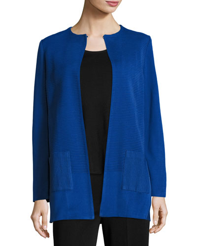 Solid Long Jacket w/ Pockets, Lyons Blue