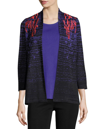 Embroidered-Shoulder Knit Jacket