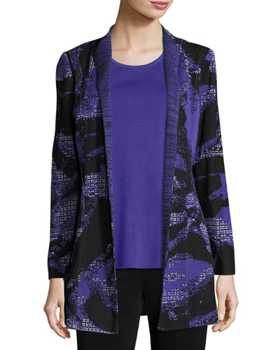 Floral-Print Knit Jacket