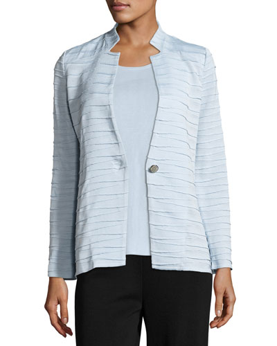 Sliced One-Button Jacket, Light Blue