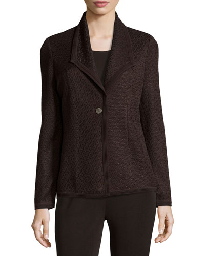 Textured One-Button Jacket, Coffee