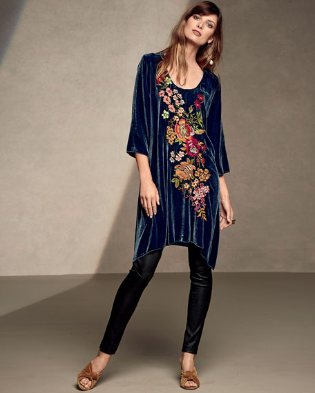Michelle Embroidered Velvet Tunic