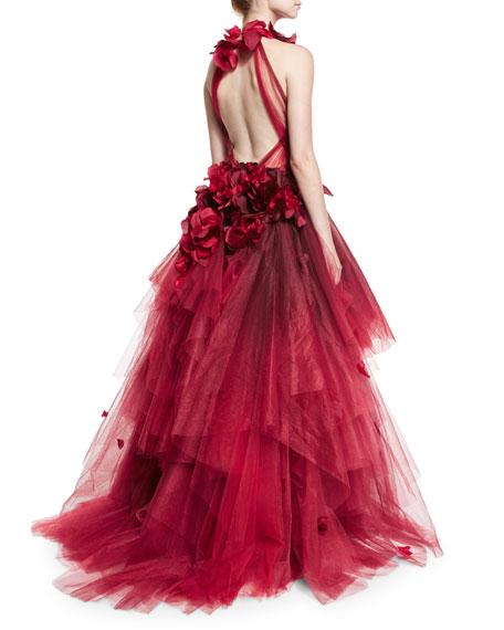 Petal-Appliqué Halter Ball Gown, Red