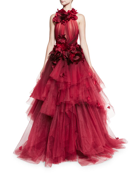 Petal-Appliqué Halter Ball Gown, Red