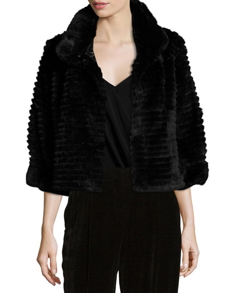 Belle Fare High-Collar Layered Fur Bolero Coat, Black