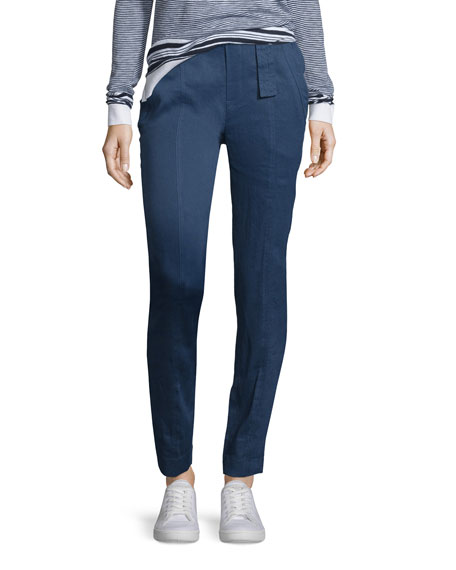Linen-Blend Belted Trousers, Blue Marine