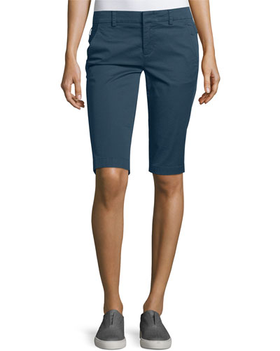 Side-Buckle Bermuda Shorts, Slate Blue