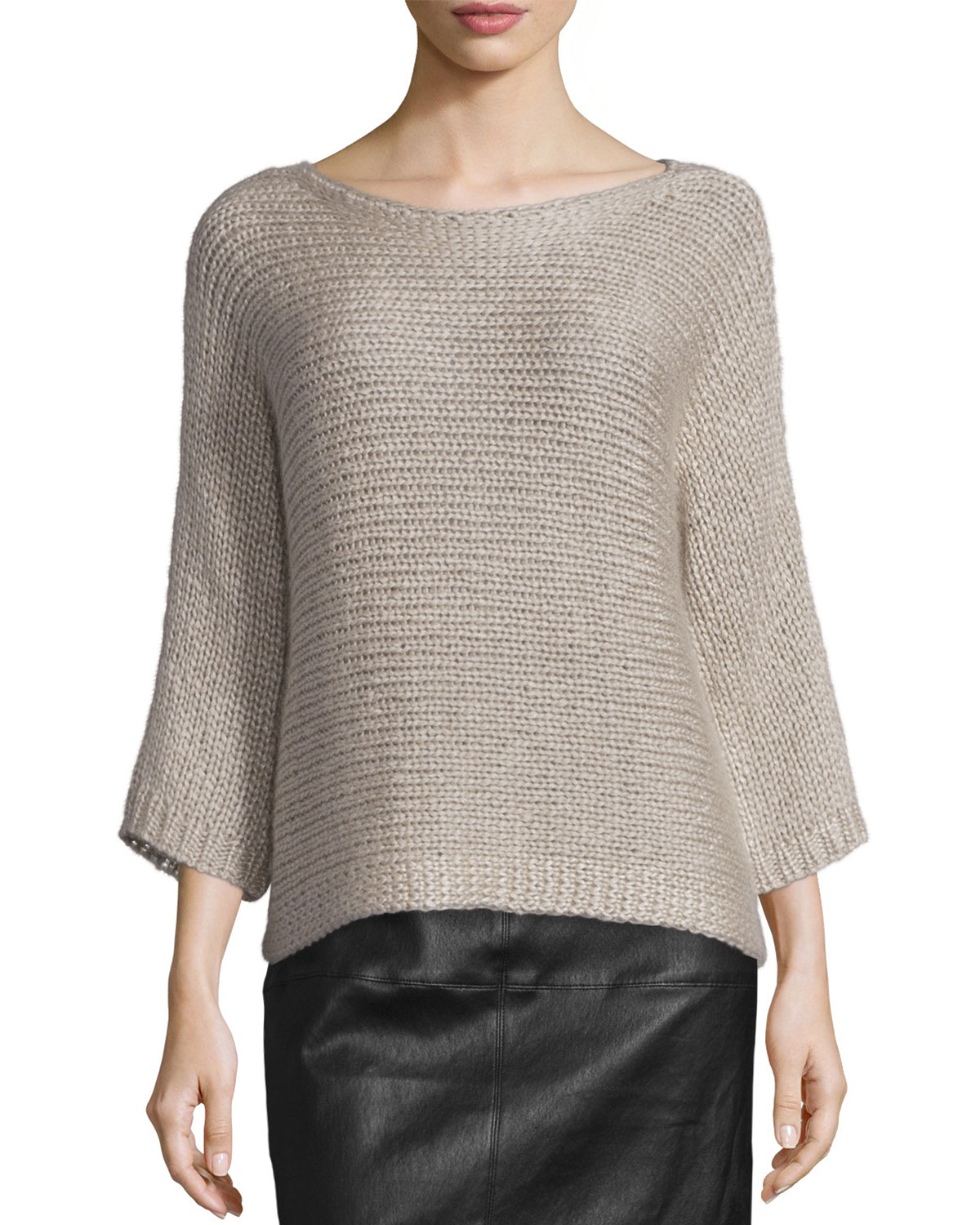 82a08d251845e5 Eileen Fisher Fisher Project 3/4-Sleeve Hand-Knit Box Top, Infinity ...