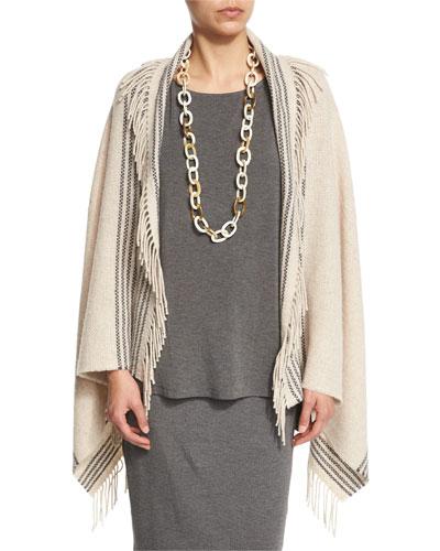 Trattino Wool-Blend Wrap, Plus Size