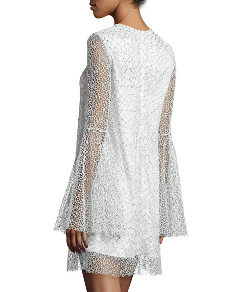 Long-Sleeve Netted Cocktail Dress, White