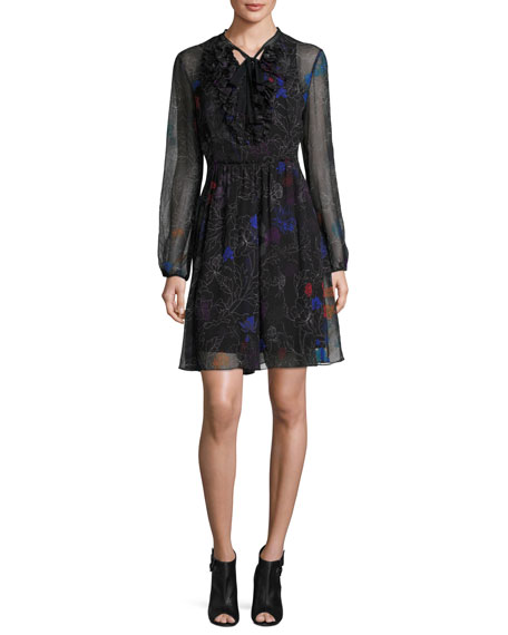 Elie Tahari Desi Tie-Neck Floral Silk Chiffon Dress,