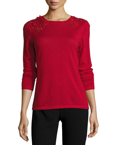 Grace Merino Sweater w/ Floral Appliqu?, Poppy
