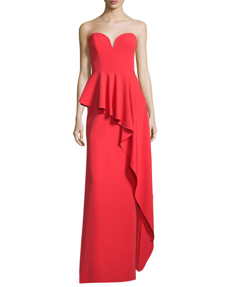 Milly Asymmetric Peplum Strapless Sweetheart Gown, Tomato