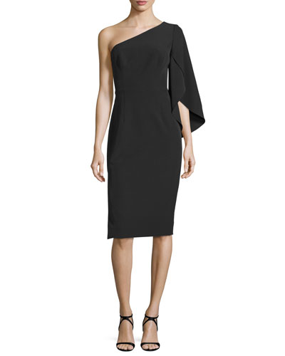 One-Sleeve Ponte Cocktail Dress, Black