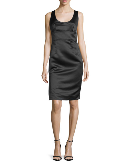 Milly Sleeveless Satin Cocktail Dress, Black