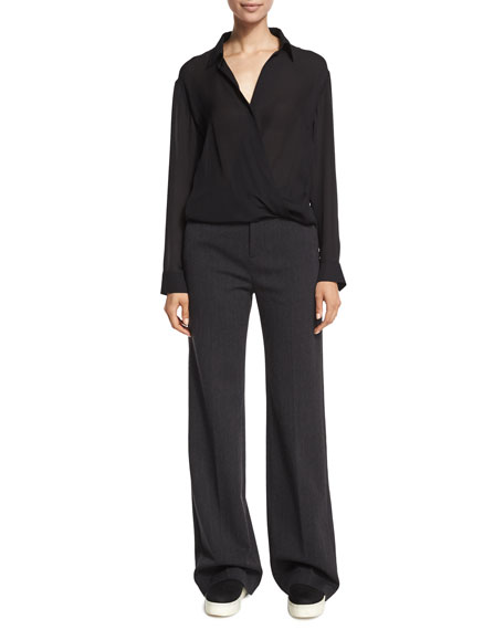 Vince Wide-Leg Wool/Cotton Trousers, Heather Charcoal