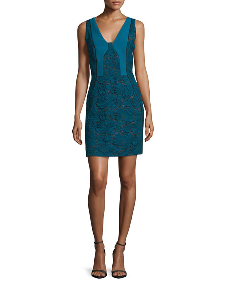 J. Mendel Bicolor Lace Paneled Sheath Dress