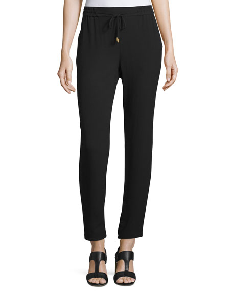 Eileen Fisher Drawstring Silk Georgette Ankle Pants