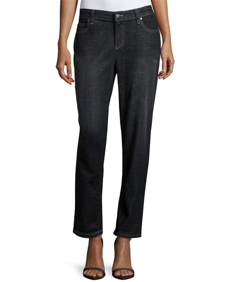 Eileen Fisher Slim-Leg Cropped Boyfriend Jeans, Vintage Black