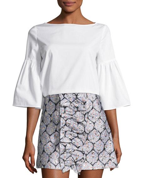 Suno Bell-Sleeve Poplin Tunic, White
