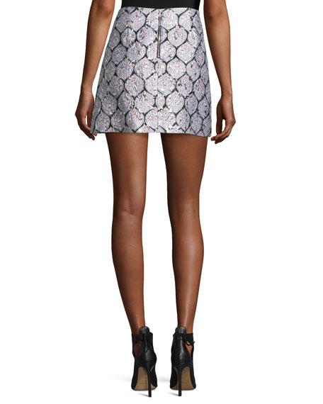 Patterned Ruffle Mini Skirt, Blue/Silver