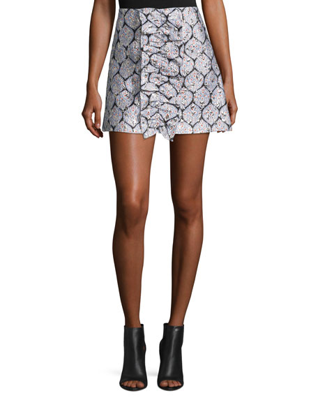 Suno Patterned Ruffle Mini Skirt, Blue/Silver