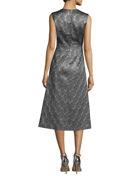 Sleeveless Scalloped Metallic Midi Dress, Silver