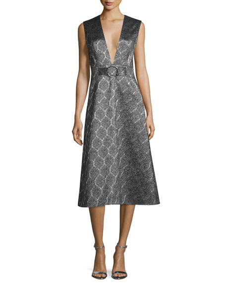Sleeveless Scalloped Metallic Midi Dress, Silver