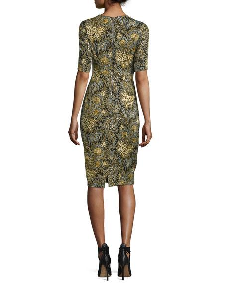 Short-Sleeve Paisley Stretch Silk Dress, Green