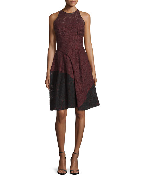 J. Mendel Colorblock Lace Halter Dress, Vin/Noir