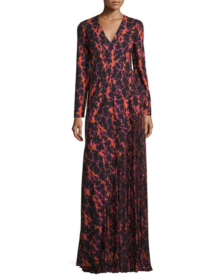 J. Mendel Ikat Printed Pleated-Inset Gown