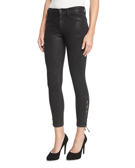 Hudson Nix Coated Lace-Up Cropped Jeans, Black