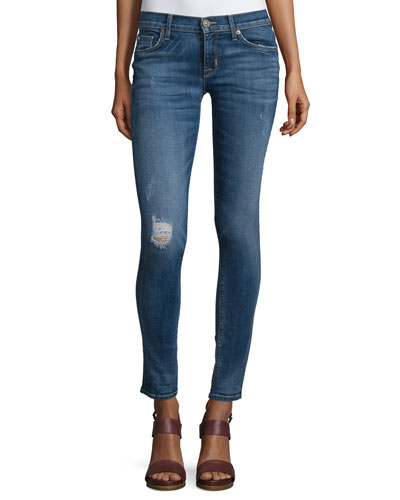 Krista Distressed Skinny Ankle Jeans, Fierce
