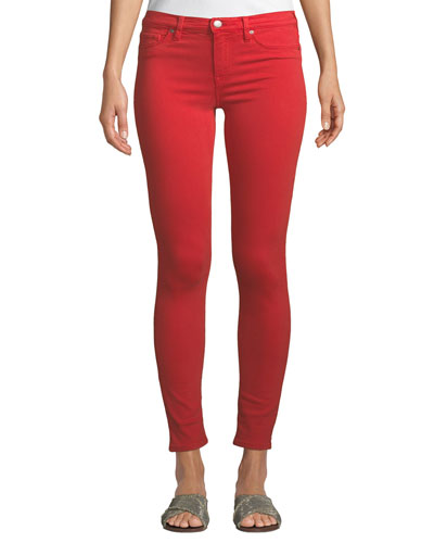 Nico Mid-Rise Skinny Jeans, Red