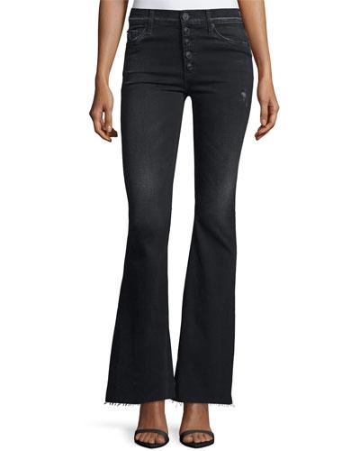 Jodi High-Waist Raw-Hem Flare-Leg Jeans