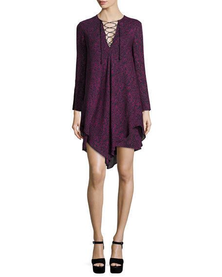 Derek Lam 10 Crosby Long-Sleeve Lace-up Swing Dress,