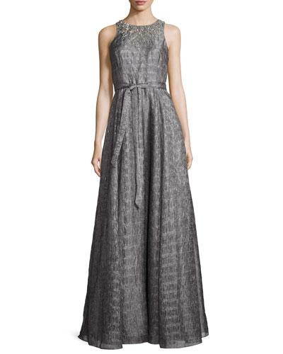 Sleeveless Embellished Metallic Organza Gown, Smoke