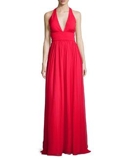 Sleeveless Silk & Jersey Column Gown, Red
