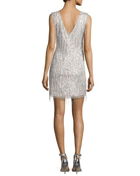 Sleeveless Beaded Fringe Cocktail Dress, Silver