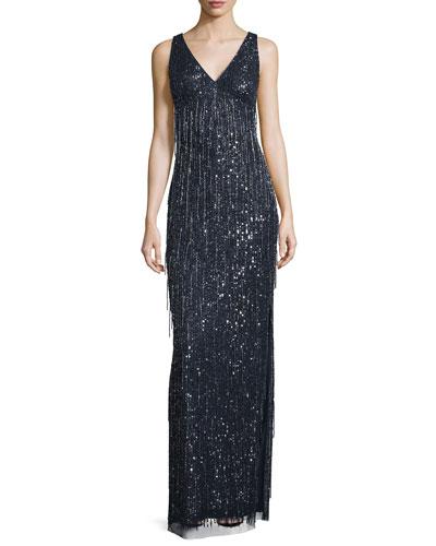 Sleeveless Beaded Fringe Column Gown, Twilight